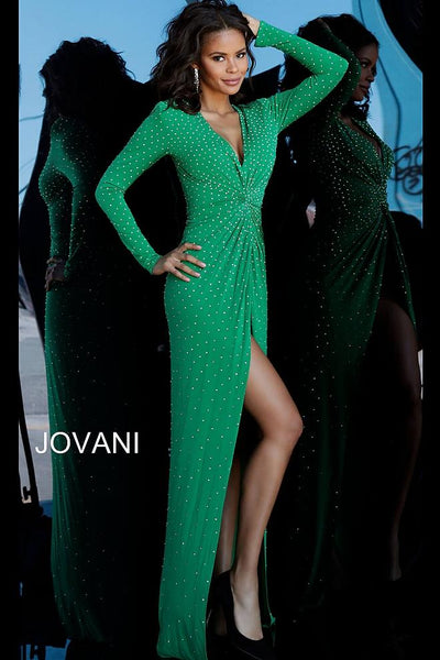 Emerald Beaded Plunging Neckline Jersey Prom Jovani Dress 3058
