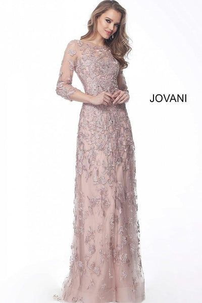 Pink Three Quarter Sleeve Embellished Evening Jovani Dress 59376