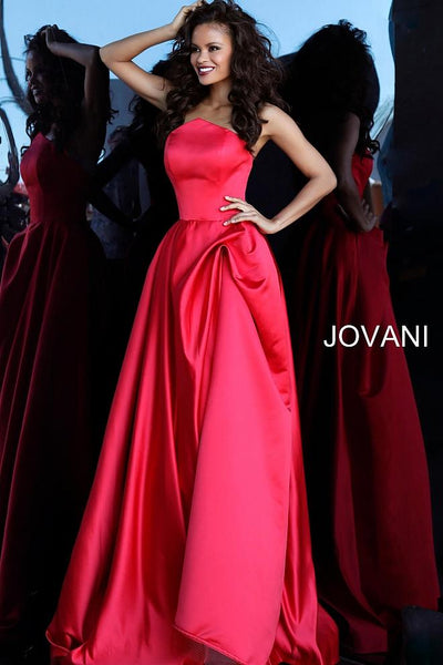 Red Strapless Pleated Skirt Evening Jovani Gown 67730