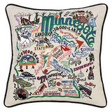 State of Minnesota Hand-Embroidered Pillow