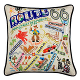 Route 66 Hand-Embroidered Pillow