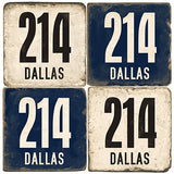 Dallas Area Code 214 Drink Coasters