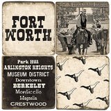 Fort Worth B&W Drink Coasters