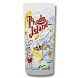 State of Rhode Island Frosted Glass Tumbler