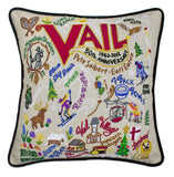 Ski Vail Hand-Embroidered Pillow