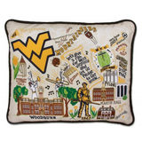 West Virginia University Collegiate Embroidered Pillow
