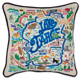 Lake Tahoe Hand-Embroidered Pillow