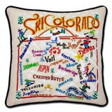 Ski Colorado Hand-Embroidered Pillow