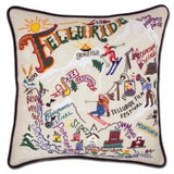 Ski Telluride Hand-Embroidered Pillow