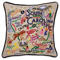 State of South Carolina Hand-Embroidered Pillow