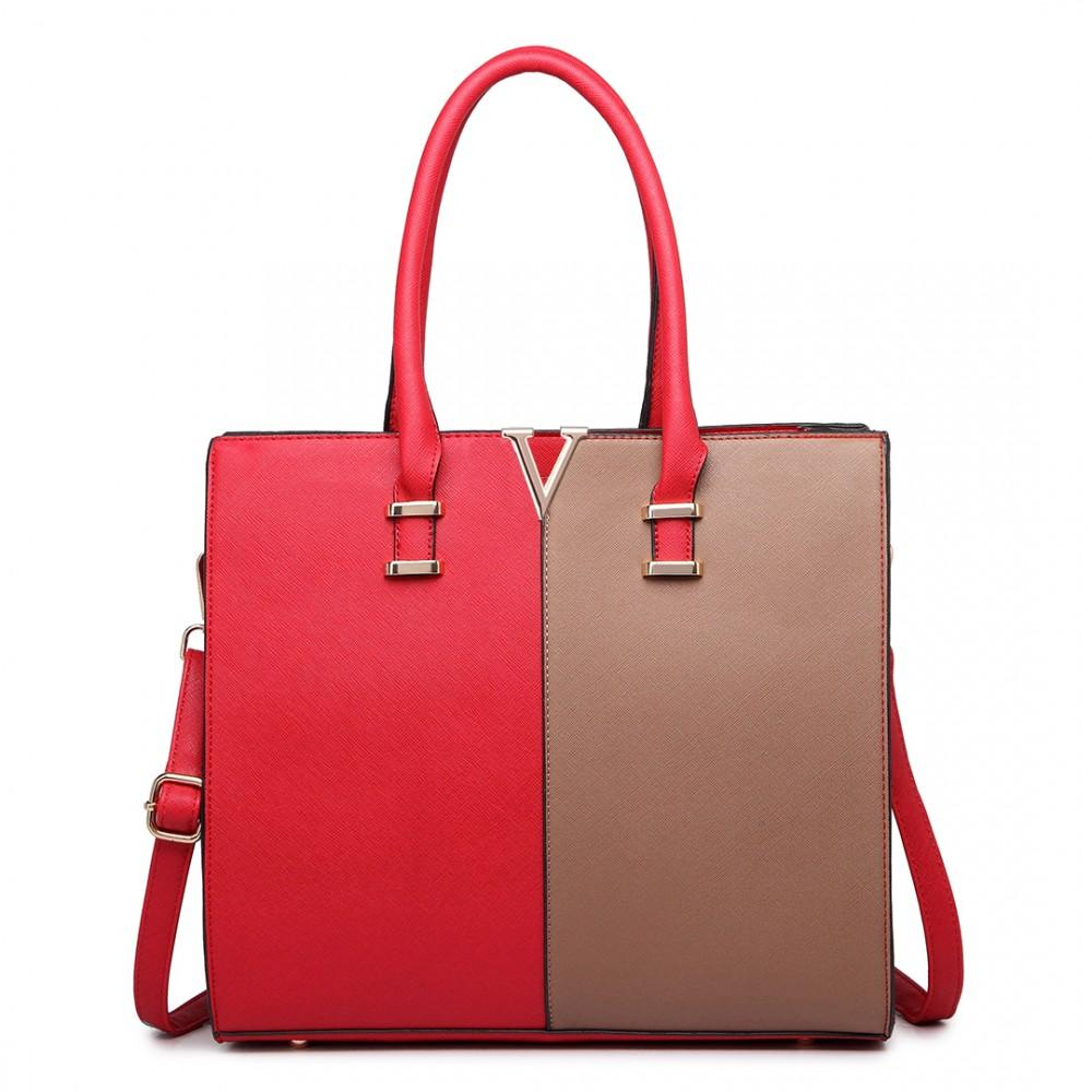 SPLIT FRONT TOTE HANDBAG RED/BROWN