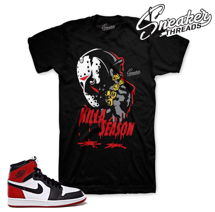 Fresh new shirts match jordan 1 black toe sneakers.