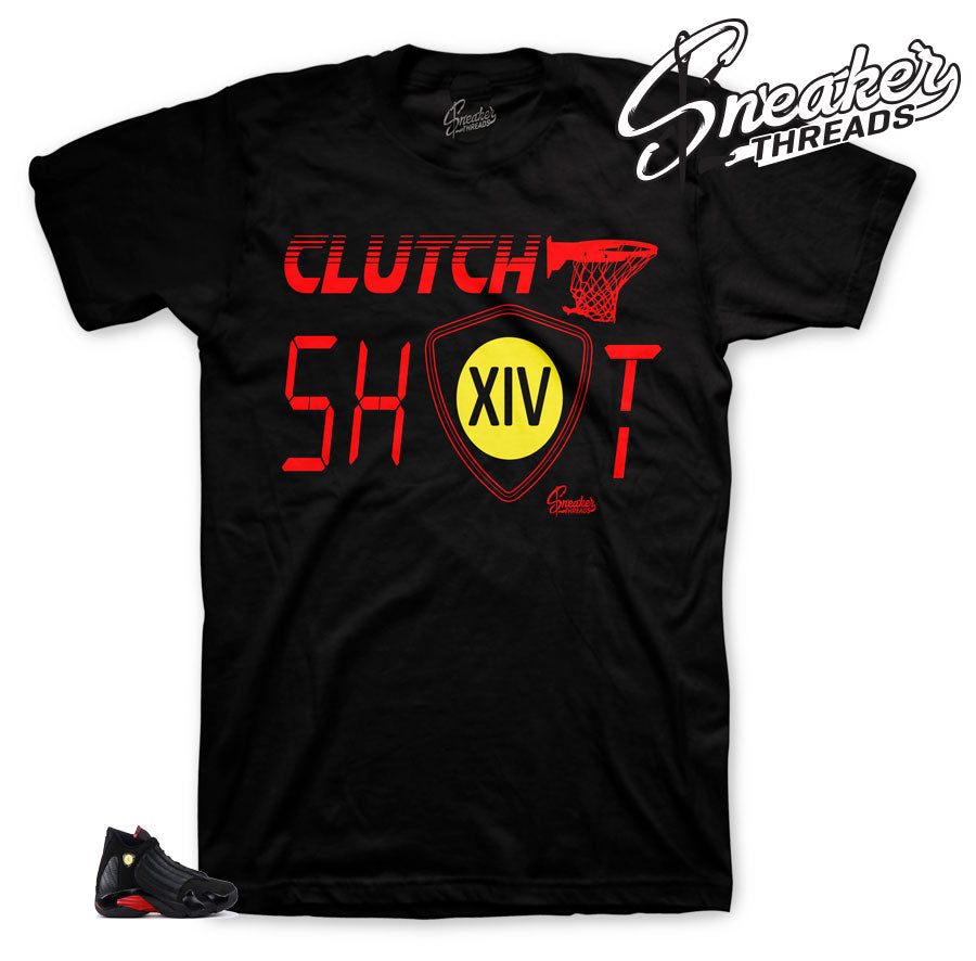 Jordan 14 last shot shirts match retro 14 shoes.