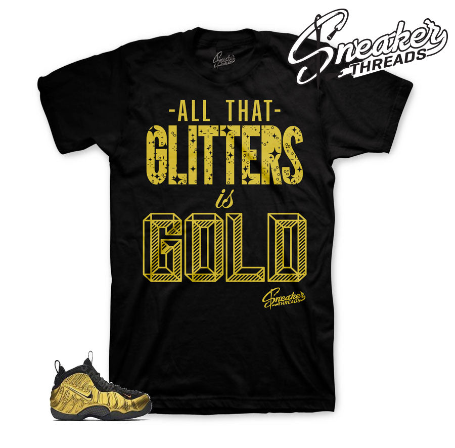 Fomaposite metallic gold shirts | Glitters sneaker threads tee.