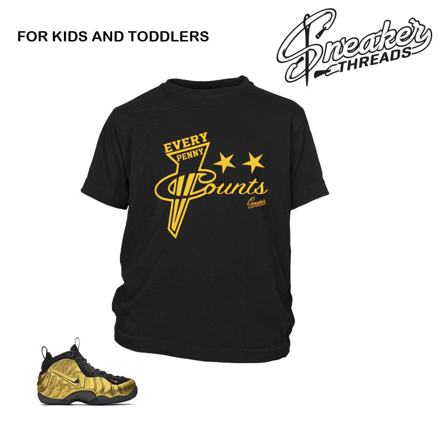 Kids fomaposite metallic gold shirts and clothing match.
