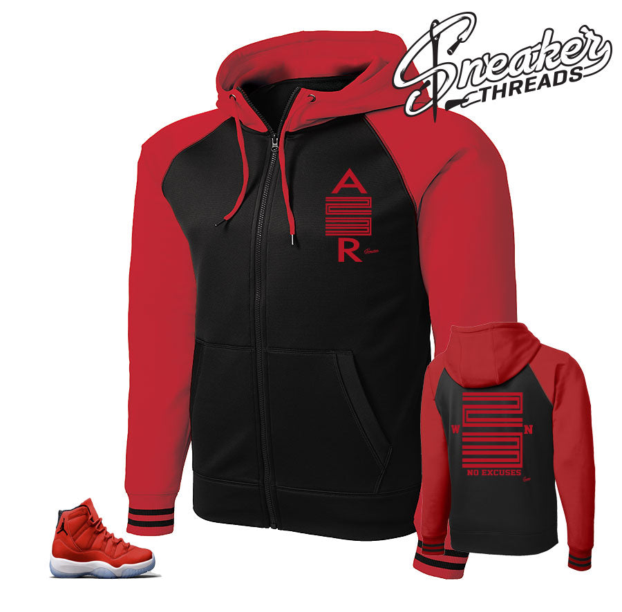Zip up hoodies to match Jordan 11 win like 96 gym red.