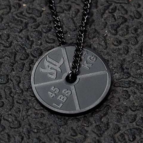 Matte Black Stainless Steel Weight Plate Necklace - Furious Apparel