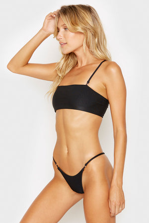 Frankies Bikinis Scarlett Black Ribbed Bandeau Style Top with Removable Thin Straps
