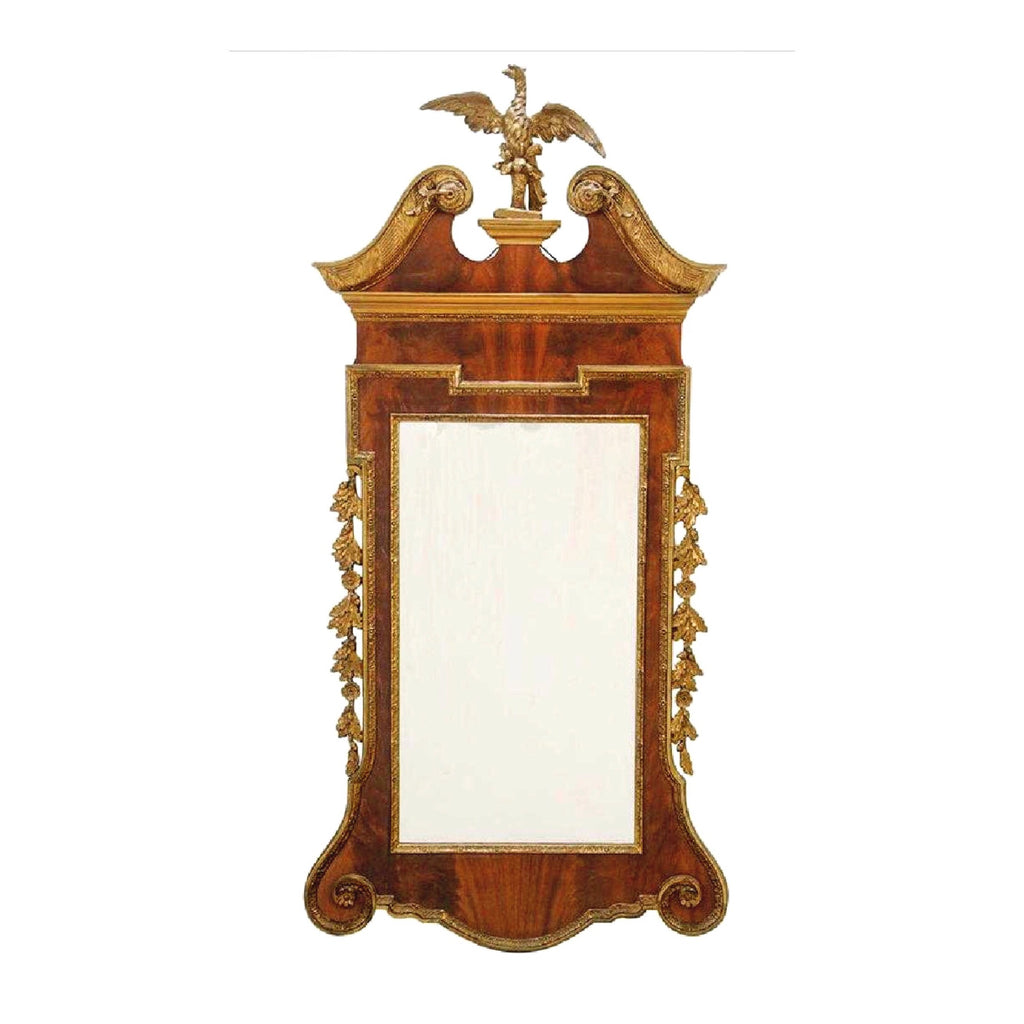 Antique Chippendale Style Mahogany Gilded Carved Mirror