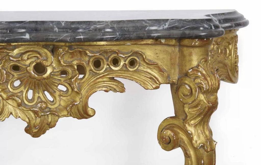FRENCH LOUIS XV STYLE CARVED GILTWOOD CONSOLE
