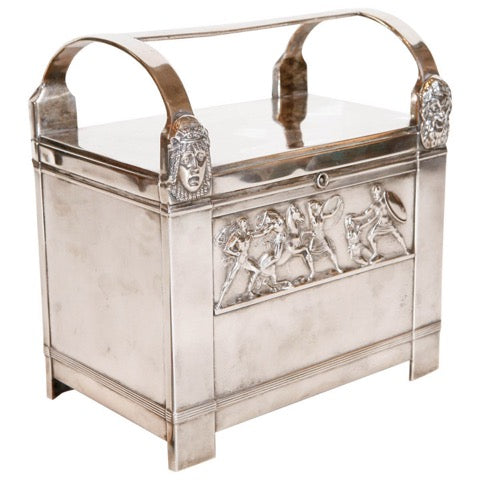 Art Deco, silver plated humidor