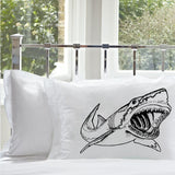 Black Big Mouth Great White Shark Pillowcase, Shark Bedding, Shark Pillowcase, Nautical Pillowcase, Nautical Decor