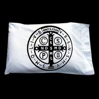 St. Saint Benedict Catholic Medal back side pillowcase