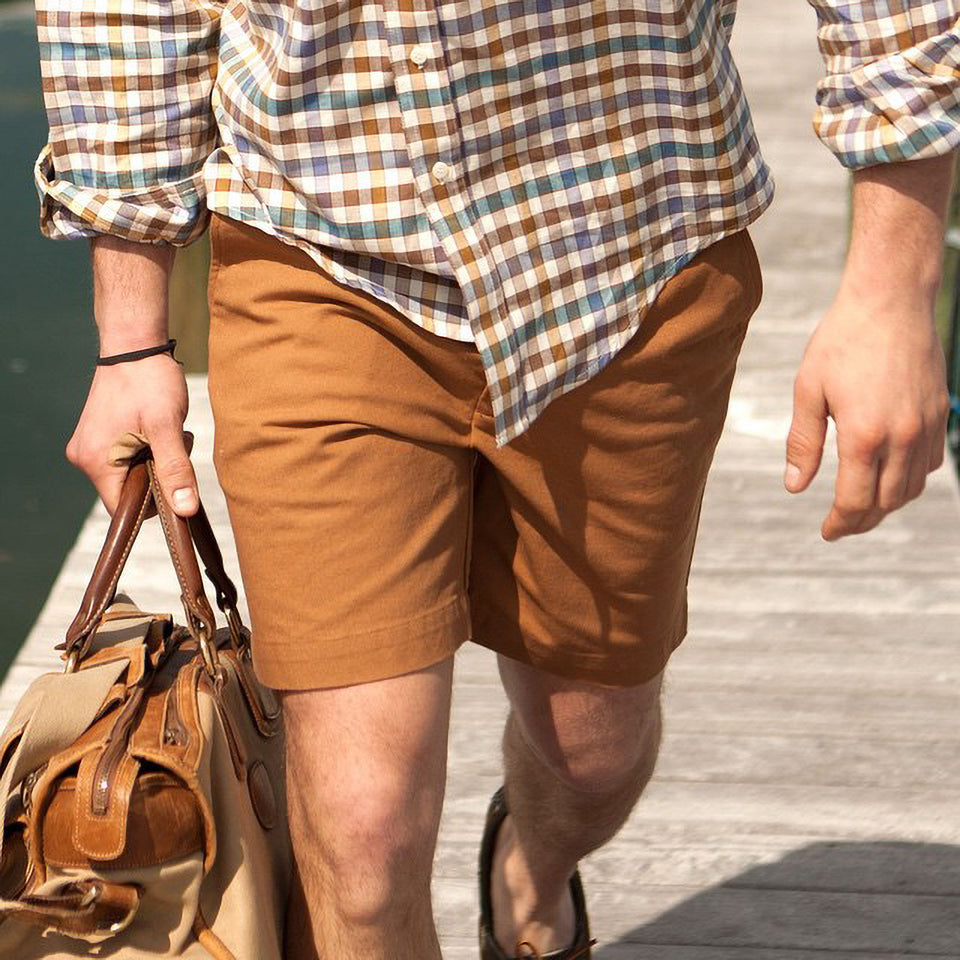 6 Point Washed Duck Cotton Short - Caramel