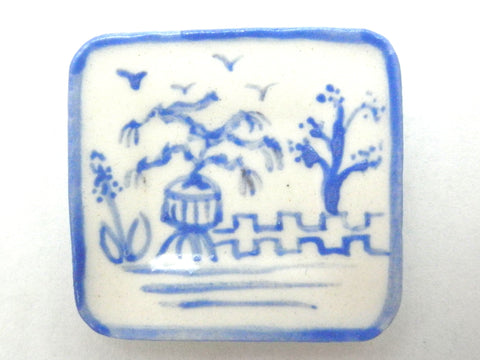Blue and White Oriental Ceramic rectangular dish - potted tree