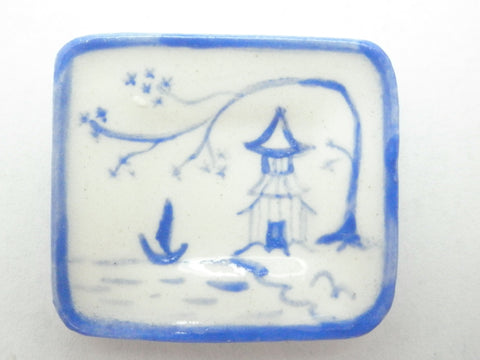 Blue and White Oriental Ceramic rectangular dish - sea
