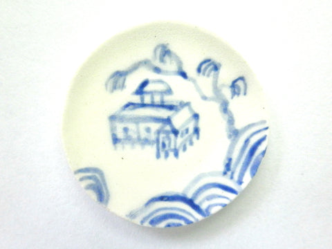 Blue and White Oriental Ceramic plate - stilt house