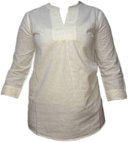 Blouse - Ladies - LADIES PINTUCK/LINEN PANEL DETAIL LONG SLEEVE TUNIC TOPS