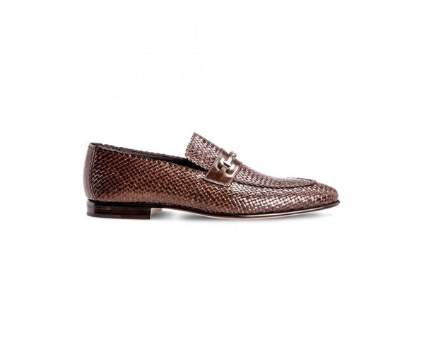 Shoes Men - MORESCHI - Cuba Woven Kangaroo Leather Loafers - Brown