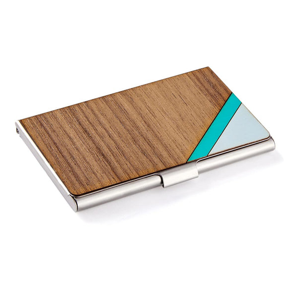 Stripe Card Case Teal & Walnut