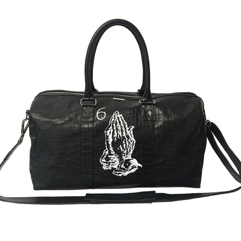Custom Hand-Painted Sardinia Duffle Bag, Black Croc Embossed Lambskin