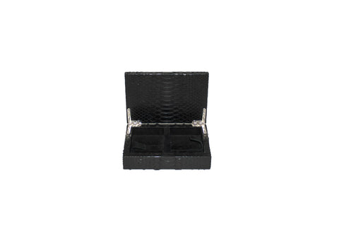Xian Playing Card Box, Matte Black Snakeskin