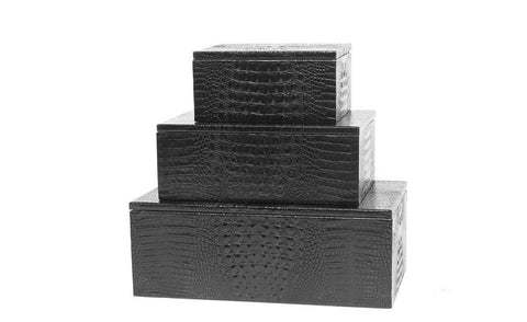 Mykonos Stacking Boxes, Black Croc Embossed Lambskin