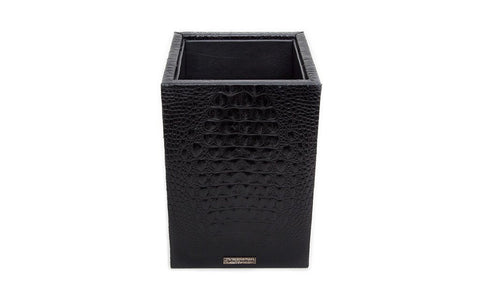 Fez Waste Basket, Black Croc Embossed Lambskin