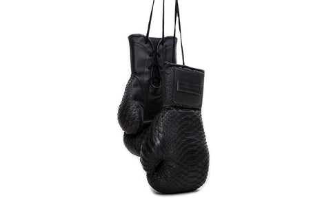 Manila Boxing Gloves, Matte Black Snakeskin