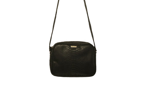 Venice Cross-Body, Matte Black Snakeskin