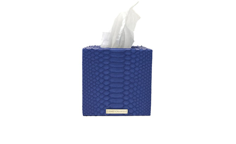 Copenhagen Tissue Box, Electric Blue Matte Snakeskin