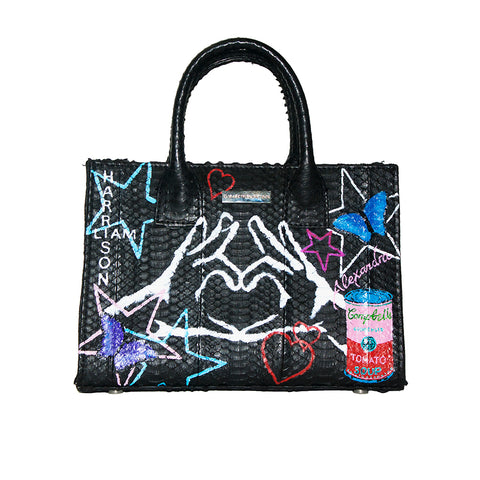 Custom Hand-Painted Belgravia Mini Tote, Black Italian Watersnake, Front