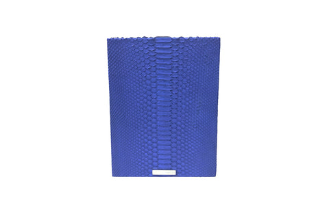 Fez Waste Basket, Electric Blue Matte Snakeskin