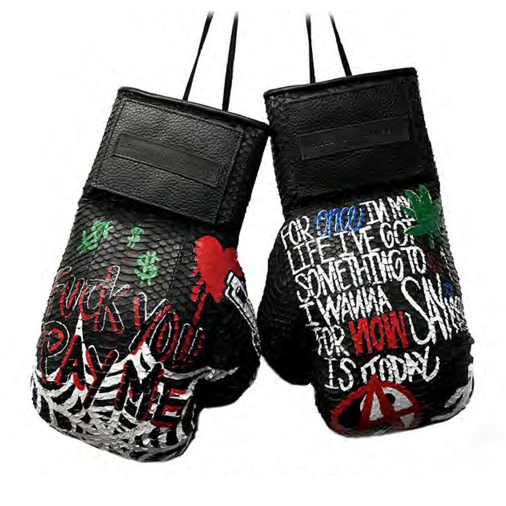 Custom Hand-Painted Manila Boxing Gloves, Black Italian Watersnake