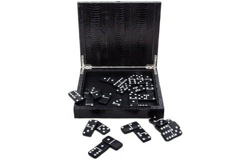 Palm Springs Dominos Set, Black Glazed Whipsnake