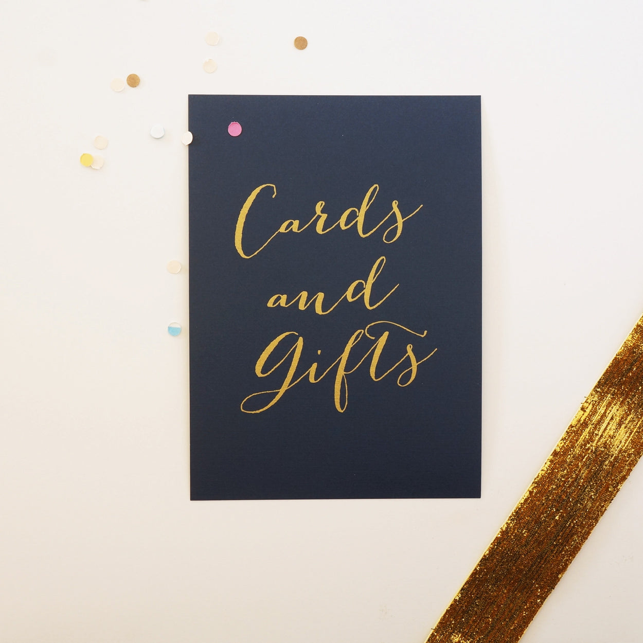 Navy & Gold Cards & Gifts Wedding Sign - shop greeting cards, handmade stationery, & wedding invitations by dodeline design