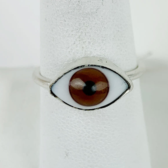 Glass Eye Sliver Plate Brass Ring Brown