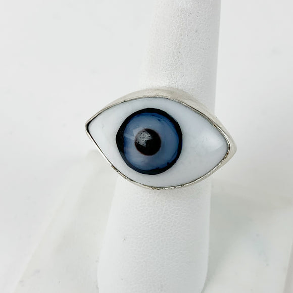 Glass Eye Sliver Plate Brass Ring Blue large