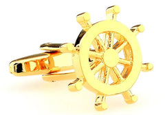 Gold Ship Wheel Cufflinks