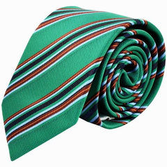 Emerald Green And Brown Striped Tie